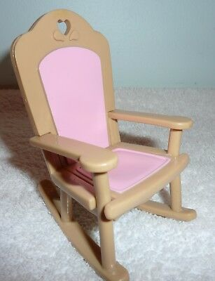 Fisher Price Loving Family Dream Dollhouse Nursery Brown & Pink Rocking Chair