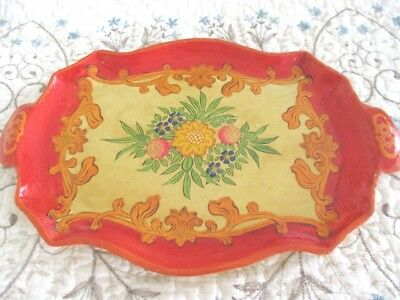 Big Red Pale Yellow Antique Hand Painted Tole Paper Mache Designer Dresser Tray