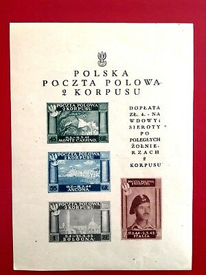 Poland,ww Ii,polish 2Nd Army Corps In Italy-Field Post Souvenir Sheet-Mh