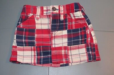 Old Navy Red White Blue Madras Plaid Skirt Euc Size 5  4Th July !