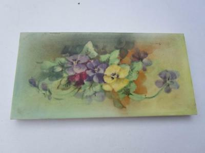 Antique Victorian Hand Painted Violet Pansy Floral Ceramic Tile National Co USA