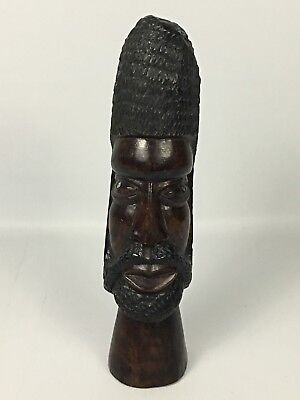 """Hand Carved 13"""" Bearded TRIBAL Warrior Wooden Statue Bust Head - African Art"""