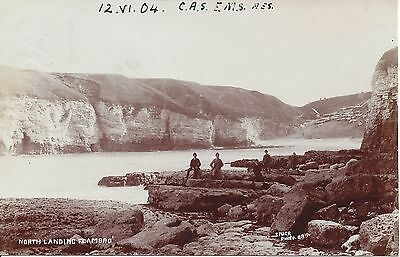 Early Real photograph postcard of the North Landing Flamborough Used 1904