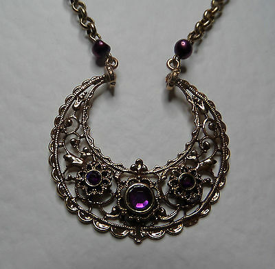 Exotic Eastern Style Filigree Rose Gold Plated Necklace Purple Stones Fwp Pearls