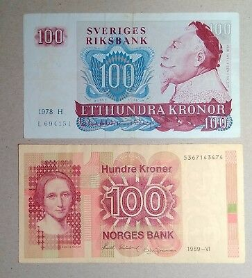 SWEDEN/NORWAY set 100+100 kronor/kroner 1978, 1989 F+/VF