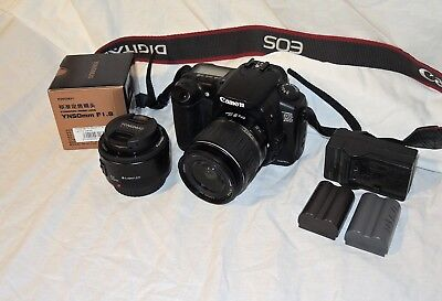 Canon EOS 20D 8.2MP DSLR with 18-55mm 3.5/5.6/50mm 1.8/2batt/chrg/more