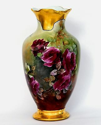 "14.5"" Limoges France Hand Painted Roses Vase"