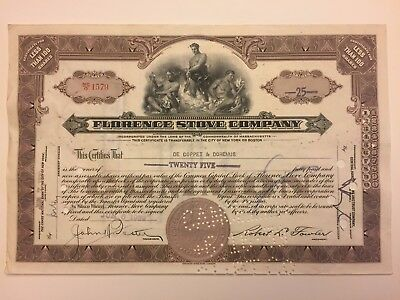 1939 Florence Stove Company Stock Certificate Gardener, MA Old Oil Stoves Brown