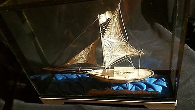 Ornate Silver Mesh Sail Boat in Glass Case (Vintage 1960's)