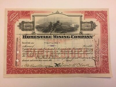 1923 Homestake Mining Co Stock Certificate Signed by Edward Clark Historic Mine!