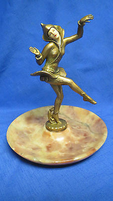 Vintage Art Deco Gerdago Dancing Pixie on Alabaster Tray