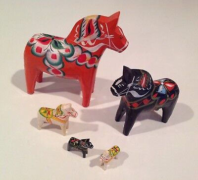 """Very Nice Olsson Dala Horses Lot of 5; 5"""" to 1-1/4""""; Made in Sweden"""