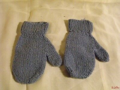 Vintage Child's Hand Knitted Blue Mittens
