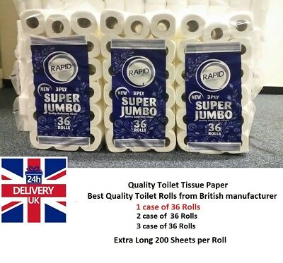 108 TOILET ROLL 3 PLY 200 SHEETS PURE THICK PULP CHEAPEST FREE 24h UK DELIVERY