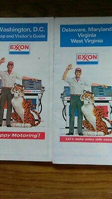 Two (2) Vintage Exxon Maps DC and DE, MD, VA,and WV Combo