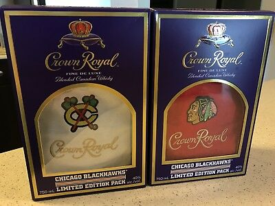 Crown Royal Chicago Blackhawks Limited Edition Bags with Boxes (2016 and 2017)