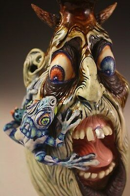 'FROGGY!!! A Surreal Southern Folk Art Face Jug Sculpture by Ron Dahline