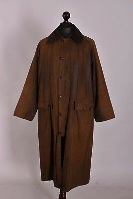 Men's Barbour Classic Burghley Brown Long Jacket Size C40 / 102cm Genuine Waxed