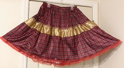 Square Dance Skirt Christmas Red And Green Plaid With Shiny Gold  Band 1-X
