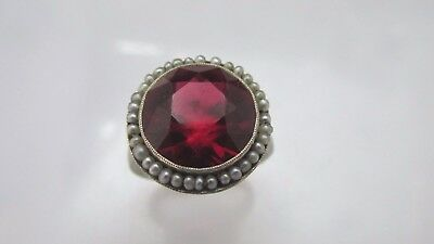Vintage Extra Large Round Faceted Ruby Ring ~ 14K White Gold ~ Seed Pearls