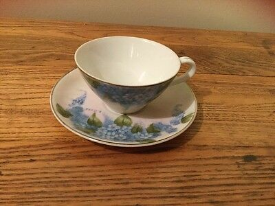 Hand Painted Blue Floral Porcelain Tea Cup and Saucer