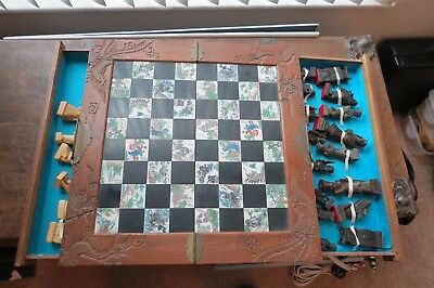 JAPANESE HandCarved Wood Chess Set Board, Purchased  in Japan 1970-72