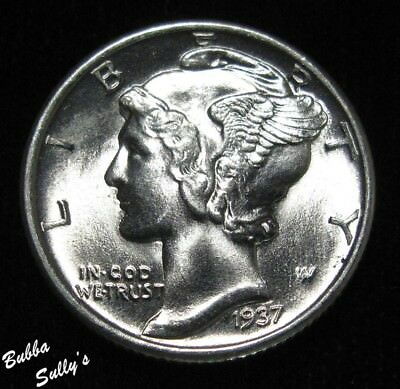 1937 Mercury Dime <> UNCIRCULATED Full Split Bands