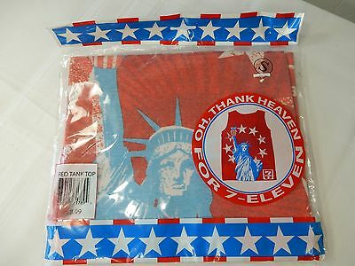 7-ELEVEN Patriotic Statue of Liberty & Stars Beach RED TANK TOP - Size SMALL