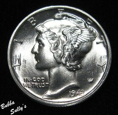 1943 Mercury Dime <> UNCIRCULATED Full Split Bands