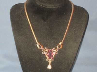 Vintage Gold-Tone Metal Purple Clear Rhinestone Faux Pearl Necklace
