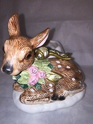 Fitz & Floyd Christmas Reindeer Fawn PINK Roses Candle Holder & Scented Candle