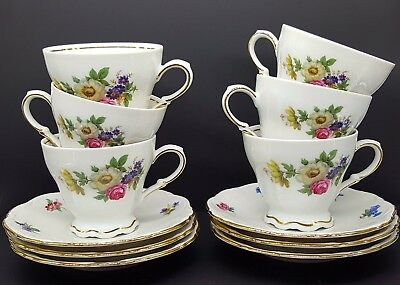 Meissen Floral by Mitterteich Germany 6 Footed Cups and Saucers
