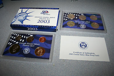 2003,US Coin Proof Set,Dollar,Kennedy Half,State Quarters,10 Coin,Free Ship,1067