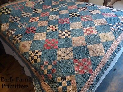 """Early Antique Blue Quilt With """"the Best"""" Brown Homespun Backing"""