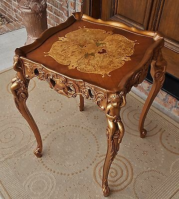 1920s FRENCH MARQUETRY LOUIS XV EMPIRE  BURLED INLAY TABLE GILT WOOD CHERUBS