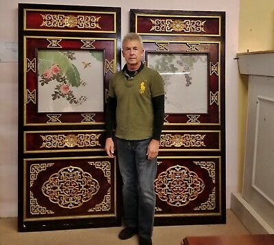 Pair Salvaged Vintage Chinoiserie Asian Gilt Mahogany Doors Painted Silk Panels