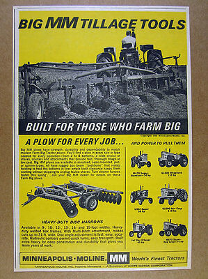 1966 Minneapolis-Moline 6 Tractor Models Plow Disc Harrows vintage print Ad