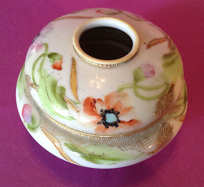 Nippon Noritake Footed Hair Receiver - Hand Painted With Gilded Accents Japan