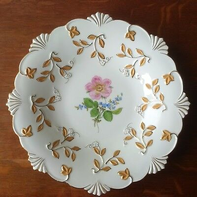 "Meissen K226 12"" Raised Gold and Floral Serving Dish"
