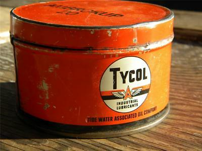 Vintage Gas & Oil Advertising Can~TYCOL~Flying A~Industrial Lubricants~1 Lb Tin