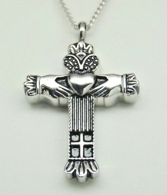 Celtic Memorial Jewelry, Claddagh Cross Urn Necklace in 316L Stainless Steel