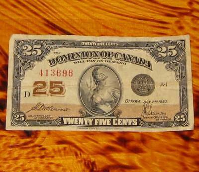 1923 Dominion of Canada 25 cents Banknote Shinplaster #3