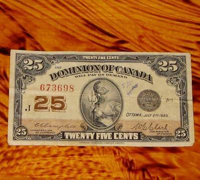 1923 Dominion of Canada 25 cents Banknote Shinplaster #4