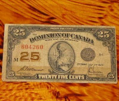 1923 Dominion of Canada 25 cents Banknote Shinplaster #6