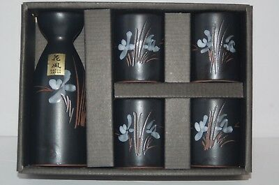 KAFUH Japanese sake set, Black with Lotus Flower