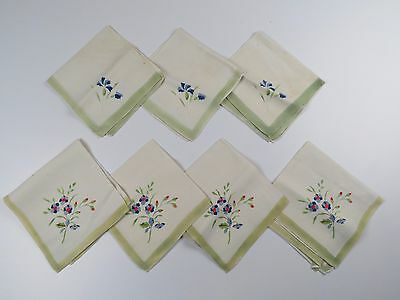 Antique Vintage Linen  Napkin Lot Blue Red Flower 14in Square Lot of 7 Luncheon