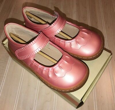 New NIB Livie And Luca Guava Shimmer Pink Ruche Shoes Mary Janes Size 12