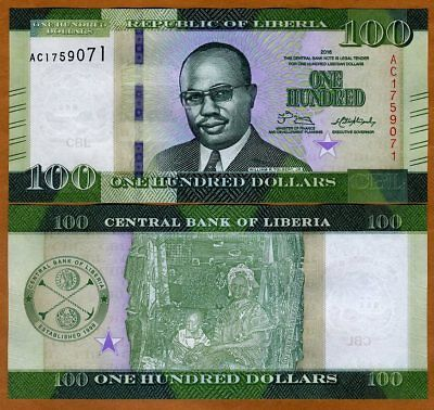 Liberia, 100 dollars 2016 (2017), P-New, UNC > Redesigned