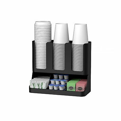Upright Coffee Condiment and Cups Organizer Flume 6 Compartment Bottom Rubber