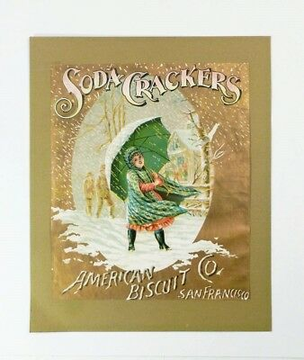 SODA CRACKERS c 1900 advertising label AMERICAN BISCUIT CO. San Francisco RARE